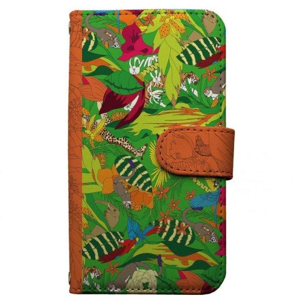 画像1: [CruXpark]Animal world スマホケース 全機種対応 手帳型 キリン シマウマ トラ とら 虎 鳥 さる サル 猿 ぞう ゾウ 象 (1)