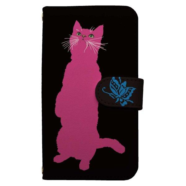 画像1: [TETSUJI SHIRAKAWA]cat-pink スマホケース 全機種対応 手帳型 ねこ ネコ 猫 (1)