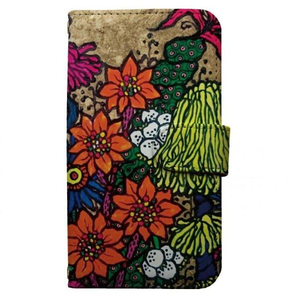 画像1: [オカジマヨシコ]flower スマホケース 全機種対応 手帳型 フラワー 花 (1)