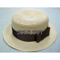 太リボンアクセントのカンカン帽