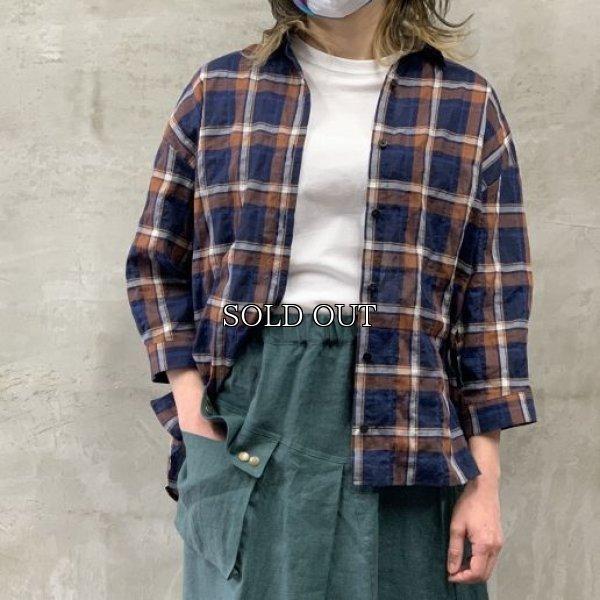 画像1: [cocora]シャツ・ブラウス 後ろタック七分袖チェックシャツ (1)