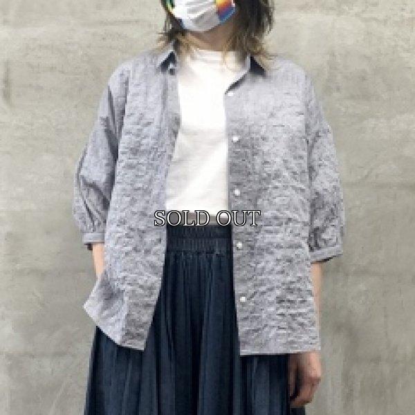 画像1: [cocora]シャツ・ブラウス シャーリング七分袖シャツ (1)