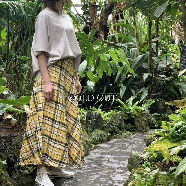 画像1: [cocora]スカート バイアス麻チェックスカート (1)