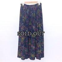 [PINETA]花柄ボーダーギャザースカート